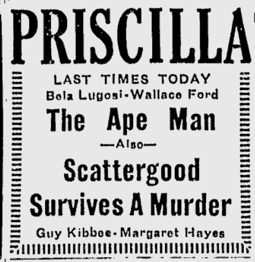 The Ape Man, Lewiston Evening Journal, April 15, 1943