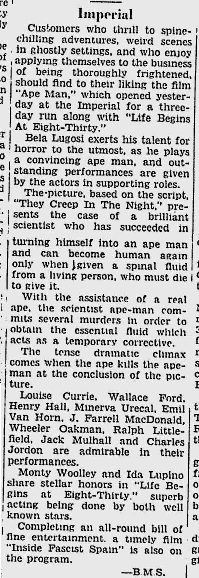 The Ape Man, Ottawa Citizen, August 18, 1943 b