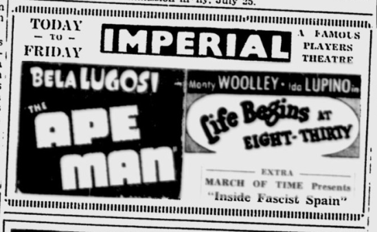The Ape Man, Ottawa Citizen, August 18, 1943