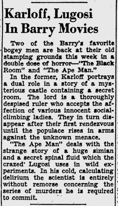 The Ape Man, Pittsburgh Post-Gazette, March 11, 1943