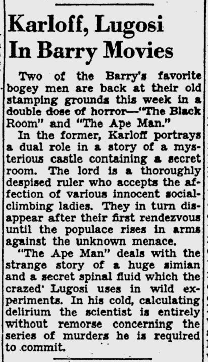 The Ape Man, Pittsburgh Post-Gazette, March 11, 1943