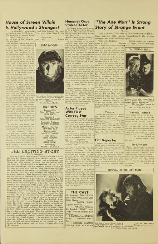 The Ape Man Pressbook 3