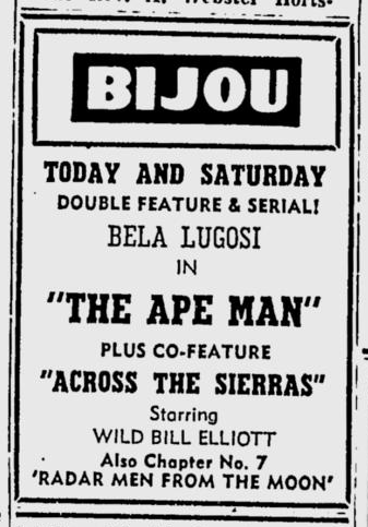 The Ape Man, Star-News, November 14, 1952