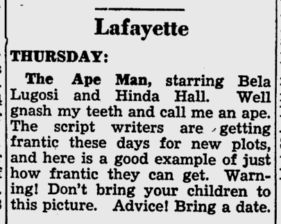 The Ape Man, The Cavalier Daily, August 5, 1943