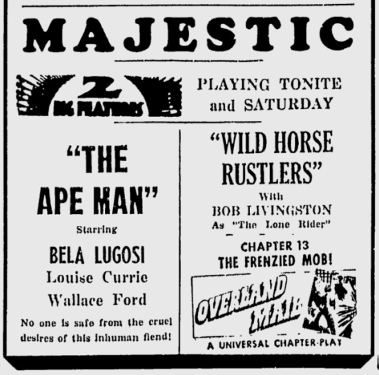The Ape Man, The Daily Times, April 30, 1943 b