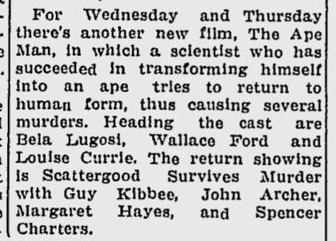 The Ape Man, The Lewiston Daily Sun, April 10, 1943