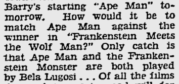 The Ape Man, The Pittsburgh Press, March 9, 1943