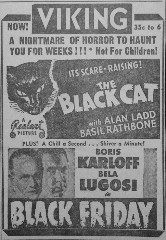 The Black Cat Black Friday Double Bill, 1947