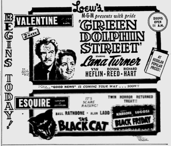 The Black Cat & Black Friday, Toledo Blade - Dec 4, 1947