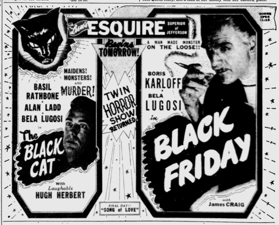The Black Cat & Black Friday, Toledo Blade, December 3, 1947