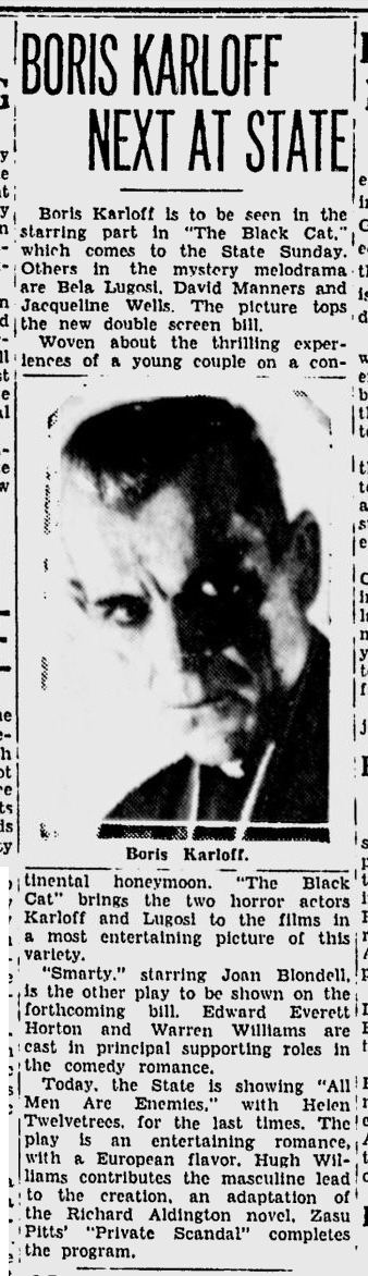 The Black Cat, Spokane, Daily Chronicle, June 16, 1934