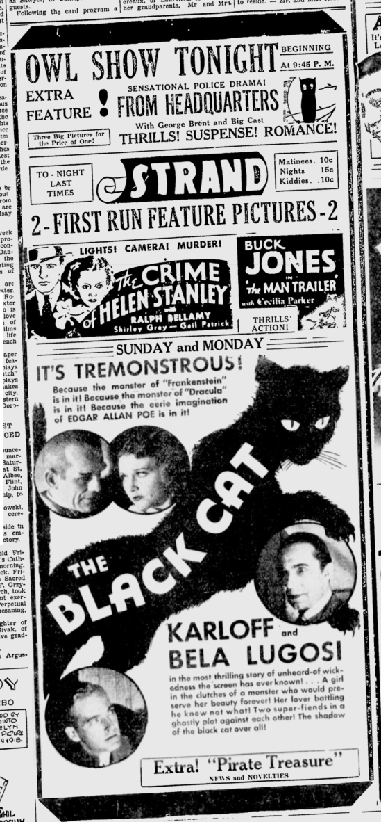 The Black Cat, The Owosso Argus-Press, June 9, 1934
