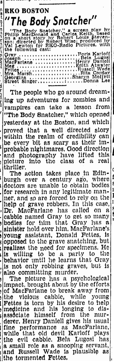 The Body Snatcher, Boston Herald. June 8, 1945