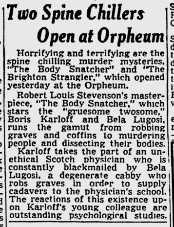 The Body Snatcher, Spokane Daily Chronicle, October 6, 1945
