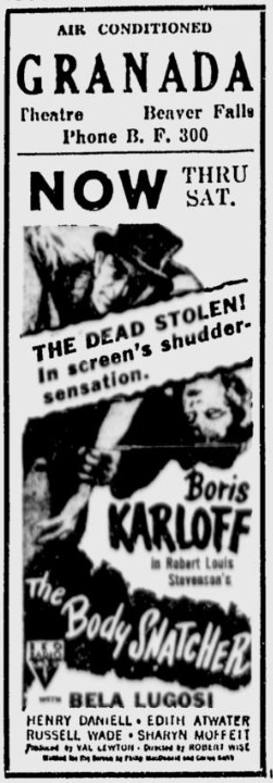 The Body Snatcher, The Daily Times, September 21, 1945
