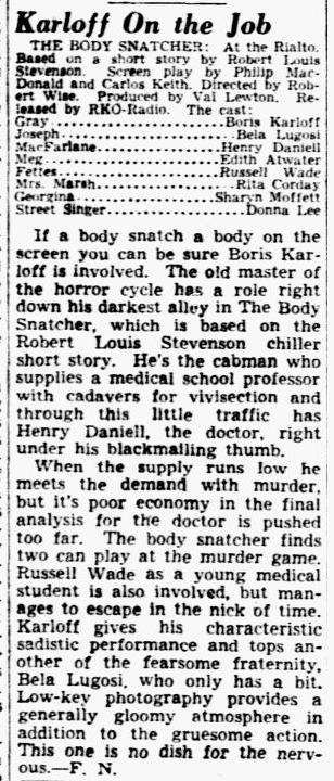 The Body Snaycher, Dallas Morning News, June 12, 1945
