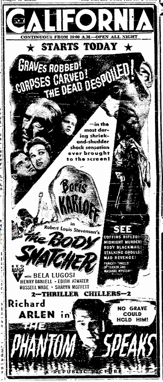The Body Snatcher, The San Diego Union, August 21, 1945 2