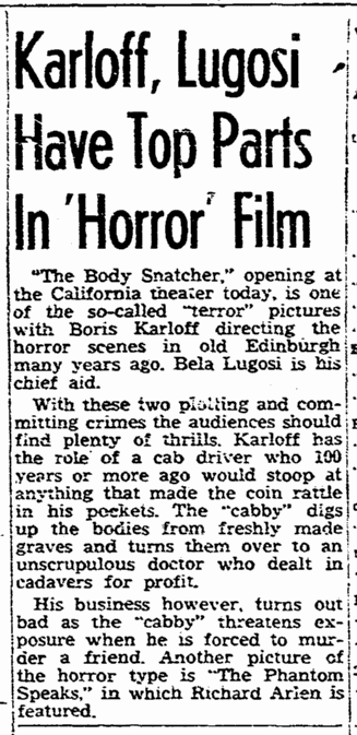 The Body Snatcher, The San Diego Union, August 21, 1945