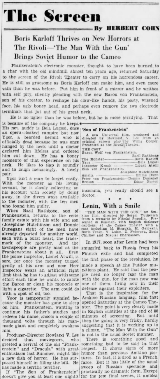 Son of Frankenstein, The Brooklyn Daily Eagle, January 30, 1939