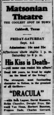 Dracula, The Caldwell News and The Burleson County Ledger (Caldwell, Tex.), Vol. 46, No. 23, Ed. 1 Friday, September 4, 1931 2