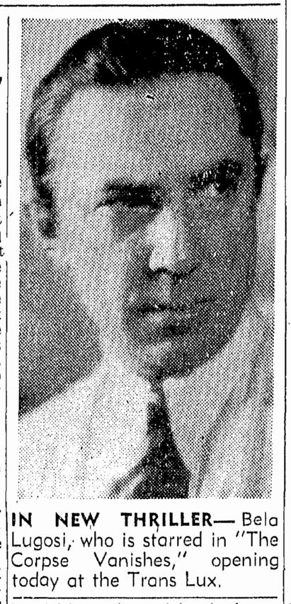 The Corpse Vanishes, Boston Traveler , May 16, 1942