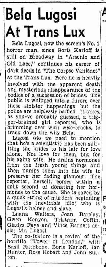 The Corpse Vanishes, Boston Traveler , May 18, 1942