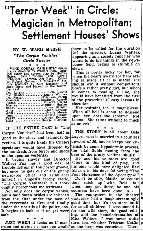 The Corpse Vanishes, Cleveland Plain Dealer, June 19, 1942