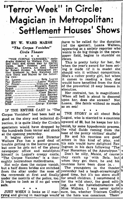 The Corpse Vanishes, Cleveland Plain Dealer, June 19, 1942