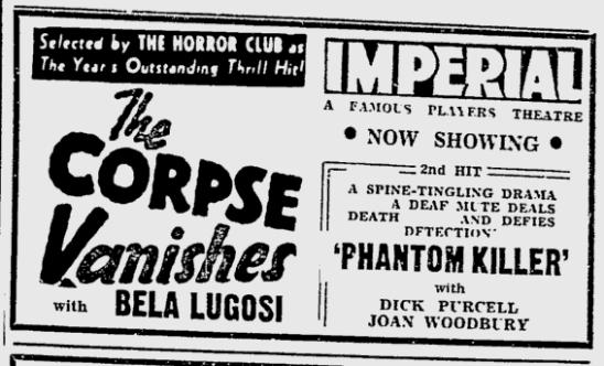 The Corpse Vanishes, Ottawa Citizen, April 14, 1943