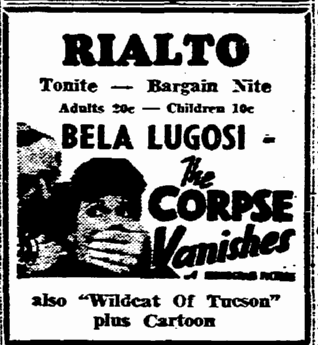 The Corpse Vanishes, Rockford Morning Star, March 29, 1955