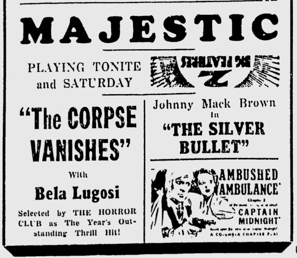 The Corpse Vanishes, The Daily Times - Aug 28, 1942 a