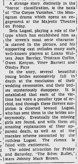 The Corpse Vanishes, The Daily Times, August 21, 1942