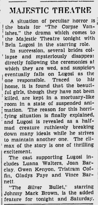 The Corpse Vanishes, The Daily Times, August 28, 1942 b