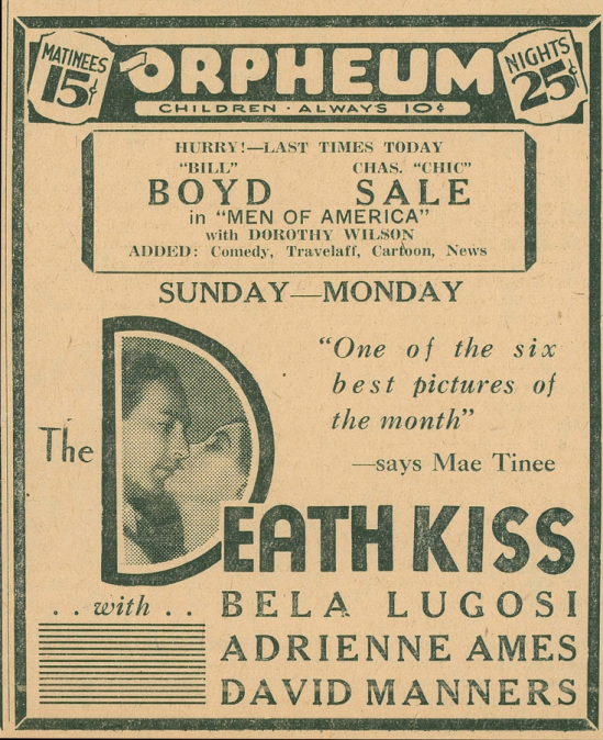 The Death Kiss Newspaper Ad 2