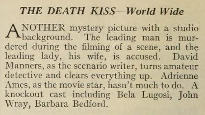 The Death Kiss Photoplay Magazine, February, 1933