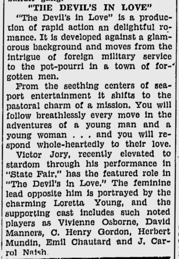 The Devil's in Love, San Jose Evening News, December 9, 1933 c