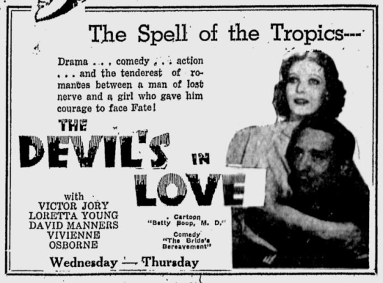The Devil's in Love, Sarasota Herald-Tribune, October 20, 1933 b