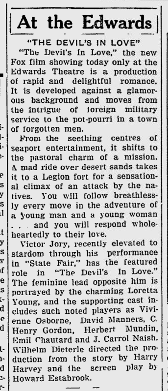 The Devil's in Love, Sarasota Herald-Tribune, October 20, 1933