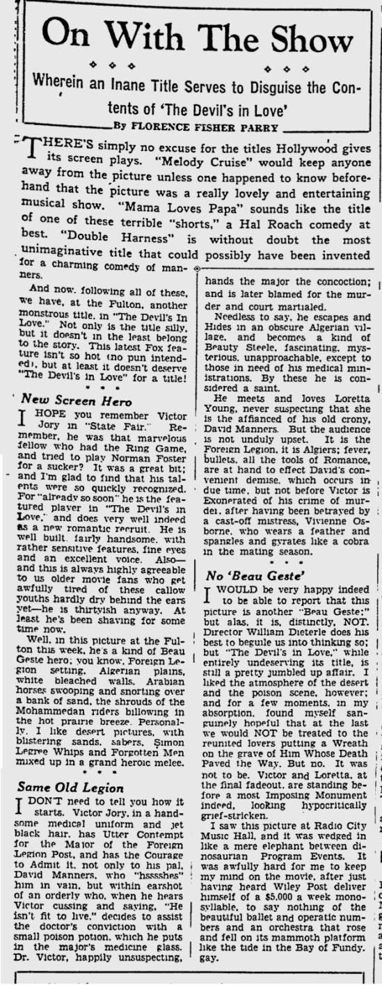 The Devil's in Love, St. Petersburgh Press, August 17, 1933