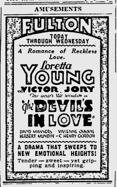The Devil's in Love, The Pitsburg Press, August 17, 1933