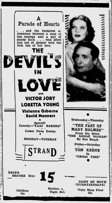 The Devil's in Love, The Sunday Spartanbug Herald-Journal, October 22, 1933 b