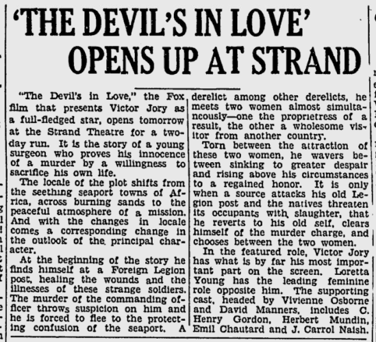 The Devil's in Love, The Sunday Spartanbug Herald-Journal, October 22, 1933 c