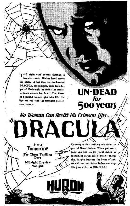 Dracula, The Evening Huronite, April 13, 1931