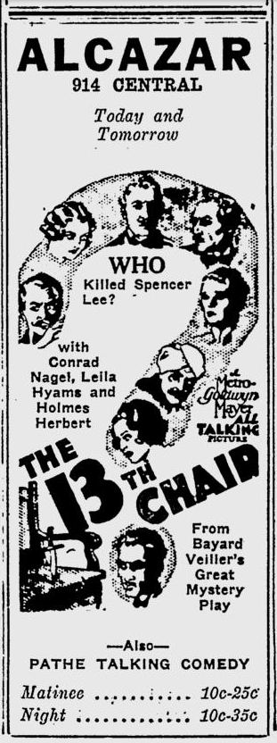 The 13th Chair, The Evening Independent, November 25, 1929