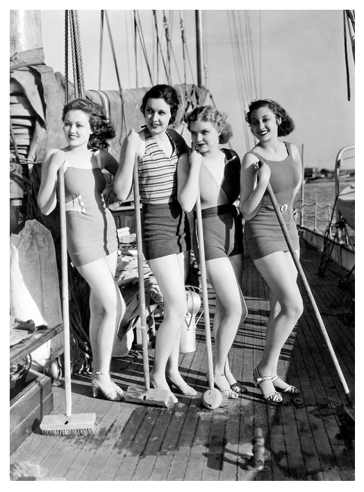 The four finalists in Paramounts search for the Panther Woman. Gail Patrick, Lona Andre, Verna Hillie & Kathleen BurkeWinner Kathleen Burke is far right.
