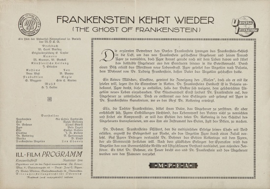The Ghost of Frankenstein Austrian Cinema Programme 2