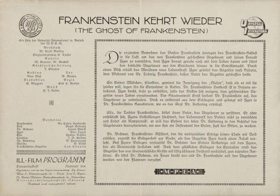 The Ghost of Frankenstein Austrian Cinema Programme 2