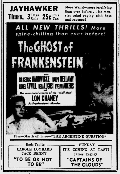 The Ghost of Frankenstein, Lawrence Journal-World, March 25, 1942