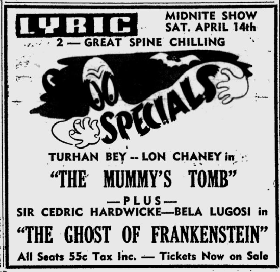 The Ghost of Frankenstein, Ludington Daily News, April 9, 1951