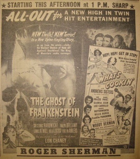 The Ghost of Frankenstein, New Haven Journal-Courier, April 22, 1942.